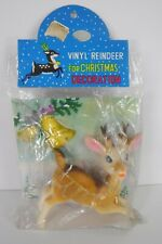 Vtg Soft Vinyl Reindeer Christmas Japan Glitter Bells