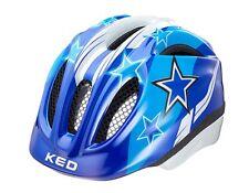 KED Kinder Fahrradhelm Meggy Blue Stars Gr. M 52-58 mit rotem LED Blinklicht