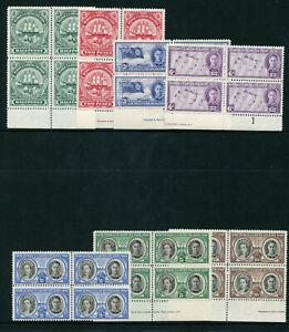 Turks & Caicos 1948 KGVI Centenary set complete in blocks MNH. SG 210-216.