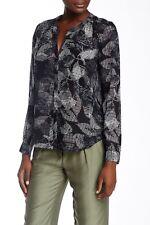 Rebecca Taylor Sonic Garden 100% Silk Printed Popover Blouse Womens Size 6
