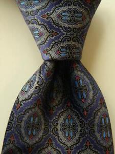 ERMENEGILDO ZEGNA Mens 100% Silk XL Necktie ITALY Luxury Geometric Blue/Gray EUC