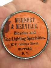 Antique 1890s Advertising Pocket Mirror Mehnert & Merville Bicycles & Gas Lights