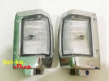 Park Turn Signal Corner Lights Lamp Chrome LH RH For 1992-1997 Nissan D21 BDI925