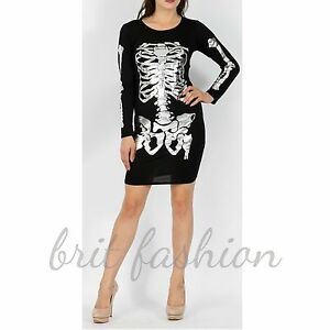 Womens Ladies FOIL PRINT HALLOWEEN SKELETON Bodycon Dress lot