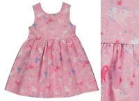 Girls Baby Summer Dress GEORGE Pink Rainbow Unicorn Dinosaur Cotton Strappy NEW