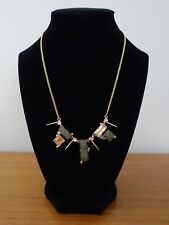 ALEXIS BITTAR GEOMETRIC PICKLE SQUARE CRYSTAL GOLD  SPIKES ACCENTS NECKLACE NEW