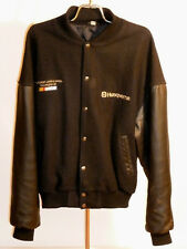 MEN'S HUSQVARNA NASCAR RACING VARSITY STYLE JACKET! WOOL & LEATHER! BLACK XL