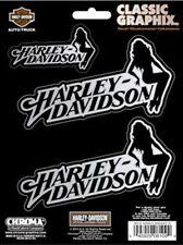 Harley Davidson Chrome Lady & Text Indoor/Outdoor Decals