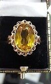 14CT Rose Russian Gold Yellow Topaz Ring size O