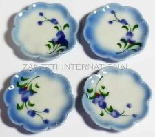 Set of 4 Dollhouse Miniature Ceramic Plates * 1-inch Doll Mini Food Dish Plate