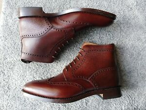 Loake Scotch Grain  Leather Brown Brogue Boots Size 10F