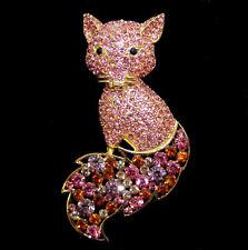 Sehr große goldfarbene Brosche entzückender Fuchs rosafarbene  Kristalle