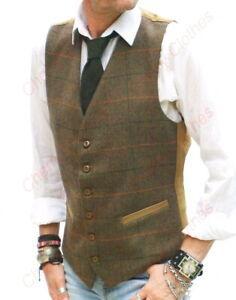 Mens Wool Blend Tweed Rustic Brown Check Herringbone Waistcoat Vest All Sizes