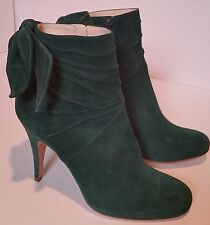 PAUL AND JOE 39.5 NWOB Green Ankle Boots Booties Heels Bow Dark Forest Deep