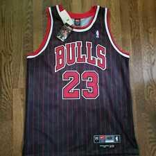 Authentic Nike Chicago Bulls Michael Jordan Alternate Black Pinstripe Jersey 48