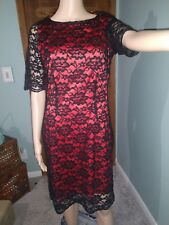 Liz Claiborne Womens Black Lace Over Red Dress Sz 8 Holiday Perfect!