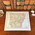 Large Original 1898 Antique Map ARKANSAS Conway Little Rock Jonesboro Springdale