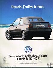 Publicité advertising 1997 VW Volkswagen Golf Cabriolet Coast
