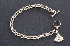 Heavy Duty Oval Link Sterling Silver Charm Bracelet with Sterling Bee Bug Charm