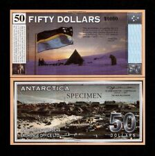 ANTARCTICA 50 DOLLARS SPECIMEN DOG FLAG TREATY FANTASY CURRENCY MONEY BILL NOTE