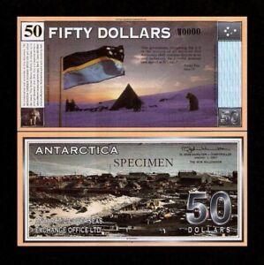 ANTARCTICA 50 DOLLARS SPECIMEN DOG FLAG TREATY FANTASY CURRENCY MONEY BILL NOTE