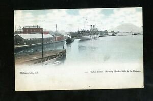 Michigan City IN 1907 Harbor Scene Showing Hoosier Slide in Distance Awesome!