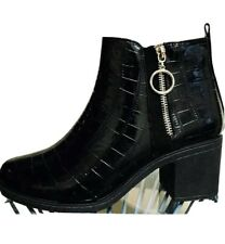New Womens Block Heel Western Boots Zip Side Ring Pull Black Size UK 6