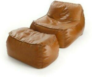 Luxuries Bean Bag Cover Leather Suede with footrest cover Jumbo Home Decor gift