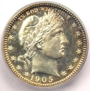 1905 PROOF Barber Quarter 25C Coin - Certified ICG PR65 (PF65) - $1,470 Value!