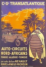 Arte cartel de viaje África Renault Tours Michelin Hombre