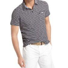 Izod Mens Casual Polo Shirt Sz XL Midnight Heather Short Sleeve Slim Fit Striped