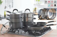 8 Piece Aluminium hard anodised  pan set - Non Stick - Includes steamer RRP £149