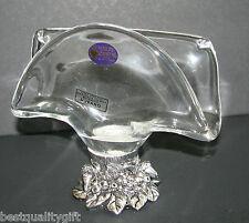 New Murano Handmade Italy White Crystal+Silver Plated Fruit Base Napkin Holder