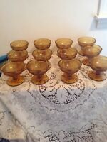 Lovely Set 12  Tiara Amber Sandwich Low Sherbet/Dessert Dishes Pressed Glass