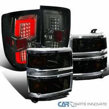 For 14-15 Chevy Silverado 1500 Pickup Smoke Headlights+LED Tail Brake Lights