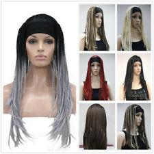Synthetic Long Straight Hand Made Braids 3/4 Half Full Wig Headband Women Wig