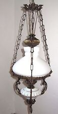 Antik Messing-Glas Petroleumstil Kronleuchter, Lüster 1 Flammig