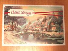 Cobblestone Christmas --- Thomas Kinkade xmas Card w/ Message --- Not Postcard