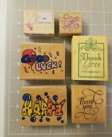 Lot of Words Phrases Wood Mounted Rubber Stamps Thanks Thank You Good Luck Happy