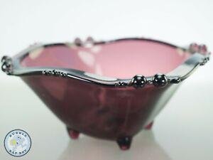 VINTAGE PRESSED GLASS BOWL AMETHYST PURPLE