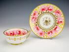 Antique Davenport Porcelain - Rose Painted & Gilded Tea Cup & Saucer - Lovely!