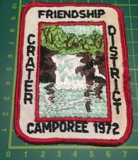 Very Rare 1972 Friendship Crater District Camporee USA Scout Badge Sew blanket