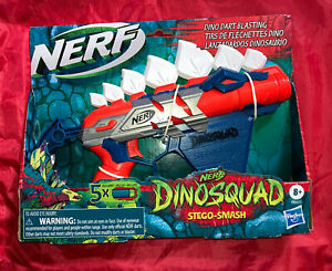 NERF DinoSquad Stegosmash Dart Blaster, 4-Dart Storage, Pull-Back Priming...