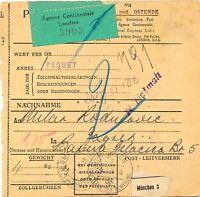 """DEUTSCHES REICH 1937 Paketkarte """"Agence Continentale Londres"""" Dienst der Dt.Post"""