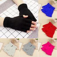 Unisex Gloves Mitten Fingerless Knitted Crochet Half-Fingers Adult Warm Winter