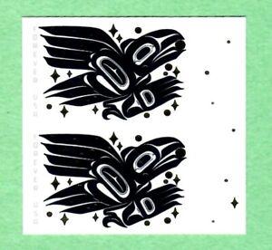 Scott 5620, Raven Story, 2021, Vertical pair, IMPERF, imperforate, no die cuts