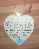 Personalised Wooden Heart Plaque Thank You Gift Any Name