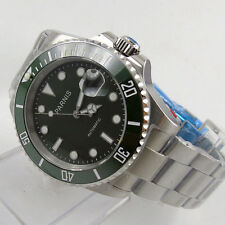 40mm parnis green dial ceramic bezel date sub style automatic mens watch P457