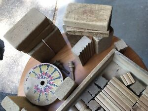 Vintage Children's Building Blocks In Original Dovetailed Wooden Box Paper Label