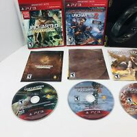 Uncharted 1 2 3 Sony PS3 Video Games Complete Lot Bundle Metal Case